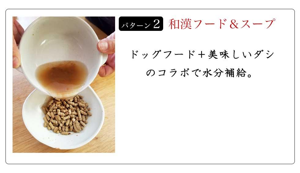 パターン2 和漢フード&スープ ドッグフード+美味しいダシのコラボで水分補給。